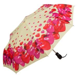 Зонт складной Moschino 7275-OCI Rubber Heart Beige фото-2