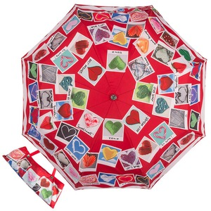 Зонт складной Moschino 7300-OCC Heart Polaroids Red фото-1
