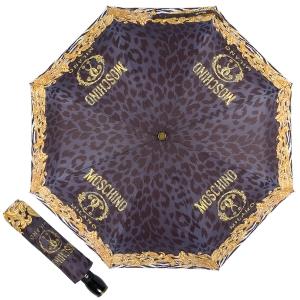 Зонт складной Moschino 8009-OCA Logo animalier Black фото-1