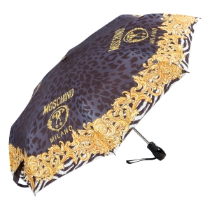 Зонт складной Moschino 8009-OCA Logo animalier Black фото-2