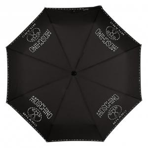 Зонт складной Moschino 8012-OCA Stitches Black фото-3