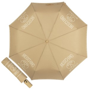 Зонт складной Moschino 8012-OCD Stitches Dark Beige фото-1