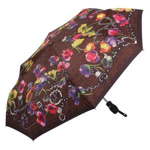 Зонт складной Moschino 8016-OCE Logo Flowers Brown фото-2