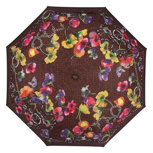 Зонт складной Moschino 8016-OCE Logo Flowers Brown фото-3