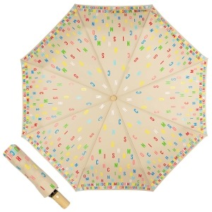 Зонт складной Moschino 8017-OCD Letters Dark Beige фото-1