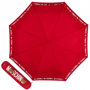 Зонт складной Moschino 8041-OCC Bear Logo Red фото-1