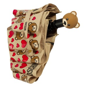 Зонт складной Moschino 8048-OCD Bear Hearts Allover Dark Beige фото-4