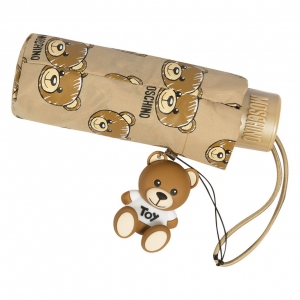 Зонт складной Moschino 8067-SuperminiD Brush Bear Allover Dark Beige фото-4