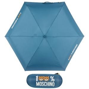 Зонт складной Moschino 8071-SuperminiR 100% Moschino Petrol Blue фото-1