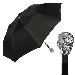 Зонт складной Pasotti Auto Leone Silver Scotland Black фото-1