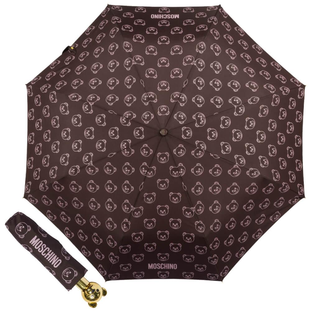 Зонт складной Moschino 8043-OCQ Monobear Gold Purple сверху