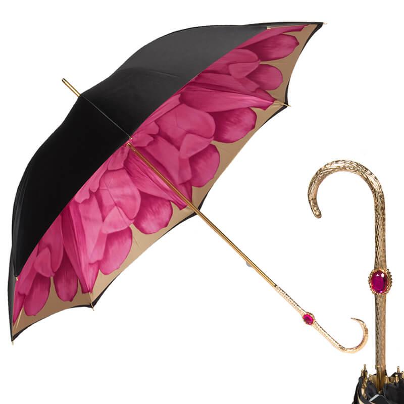 Зонт-трость Pasotti Nero Georgin Rosa Oro