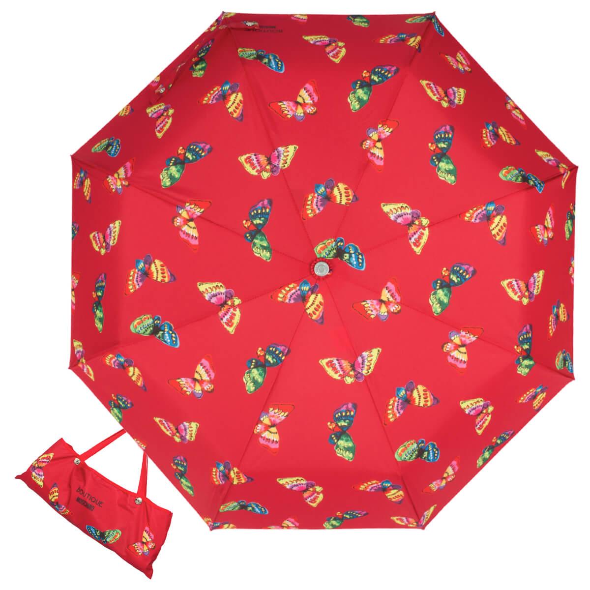 женский красный зонтик, стильный, автомат
