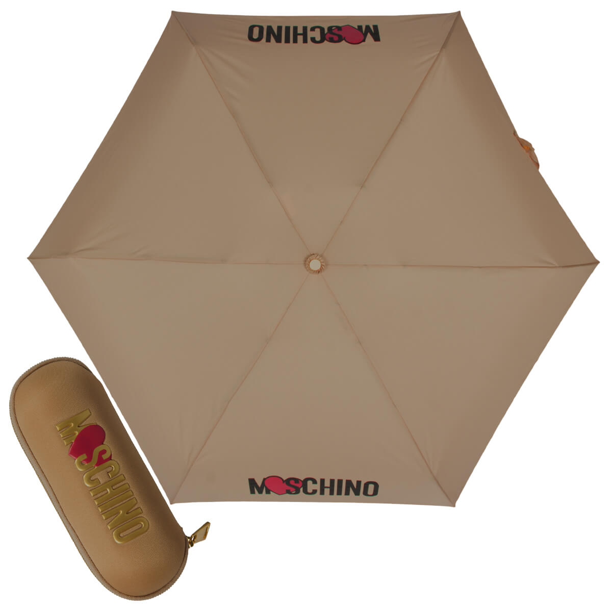 Зонт складной Moschino 8020-SUPERMINID HEART LOGO DARK BEIGE