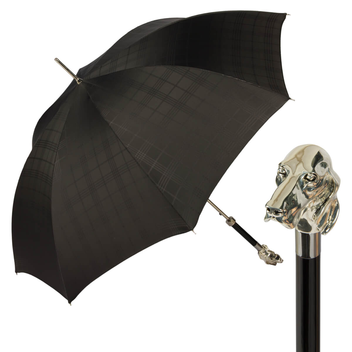 Зонт-трость Pasotti Fido Silver Сell Black